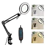 Lámpara de Aumento LED Ampliación 10X, USB lámpara de Trabajo ,10 Niveles Regulable 3 Colores Lámpara de Escritorio, con Brazo Oscilante de Metal, Plegable, Lámpara de Brazo Giratorio Ajustable