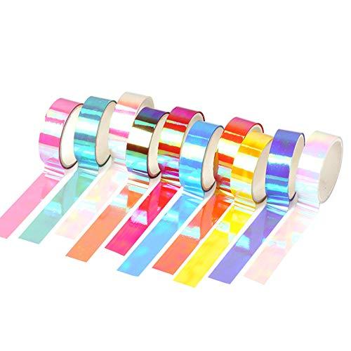 10 Rollen Glitzer-Washi-Tape-Set, buntes Laser-Washi-Tape für Dekor-Planer, Geschenkverpackungen, Bastelarbeiten, Etikettierungen, Klassenzimmer-Dekorationen, Heimdekorationsbedarf