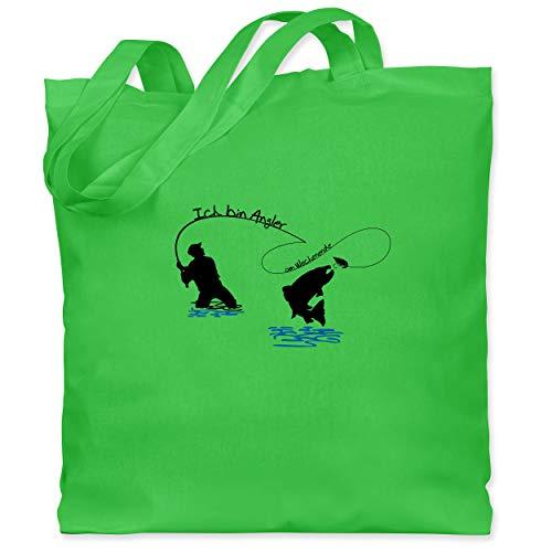 Shirtracer Angeln - Ich bin Angler am Wochenende - Unisize - Hellgrün - Geschenk - WM101 - Stoffbeutel aus Baumwolle Jutebeutel lange Henkel