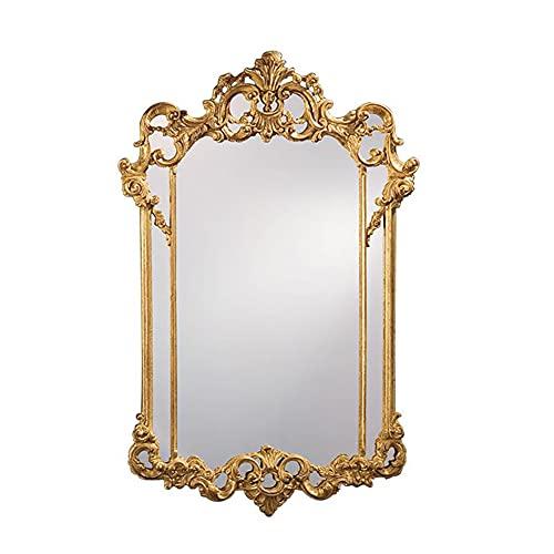 XIAOYUE Espejo de Pared Vintage, Espejo de Maquillaje Decorativo Arqueadode Dorado Barroco, para Sala de Estar, Dormitorio, Pasillo