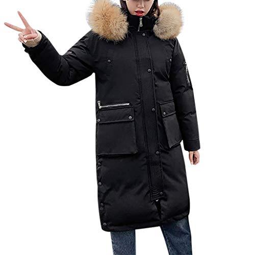 Writtian Wintermantel Damen Lange Daunenjacke Outwear Winter Warm Trenchcoat Mit Kapuze Abnehmbarer Kunstpelzkragen Einfarbig Winterjacke Casual Parka Mantel Kapuzenjacke Wattierter Doppelseitig
