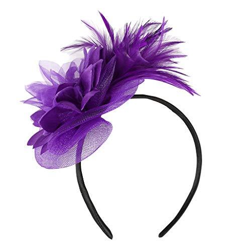 MIRRAY Feder 1920er Haarband Fascinators Womens Flower Derby Hut Für Cocktail Ball Hochzeit Neues Stirnband Lila
