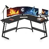 Cubiker Modern L-Shaped Desk Computer Corner Desk, Gaming Writing Study Desk for Home Office Wood & Metal