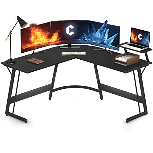 Cubiker Modern L-Shaped Desk Computer Corner Desk, Gaming Writing Study Desk for Home Office Wood & Metal