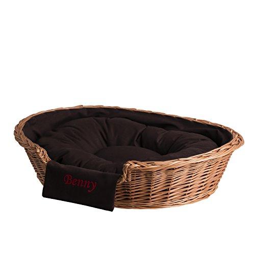 e-wicker24 EIN Lager aus Weide für einen Hund/eine Katze mit einem weichen Kissen, EIN Liegestuhl für Tiere, Katzenlager/Hundlager, Hundebett/Katzenbett