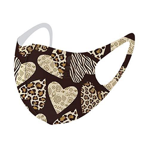 Daringjourney 1PC Erwachsene Leopardenmuster Mund und Nasenschutz,Waschbar mundschutz Mund-Tuch,Atmungsaktiv Staubdichte mundbedeckung multifunktionstuch Halstuch, wiederverwendbar Bandana