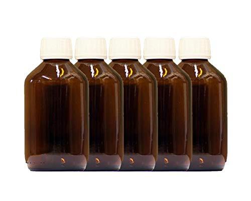 5 x 250ml Botella de vidrio ámbar con PP28st Tapón