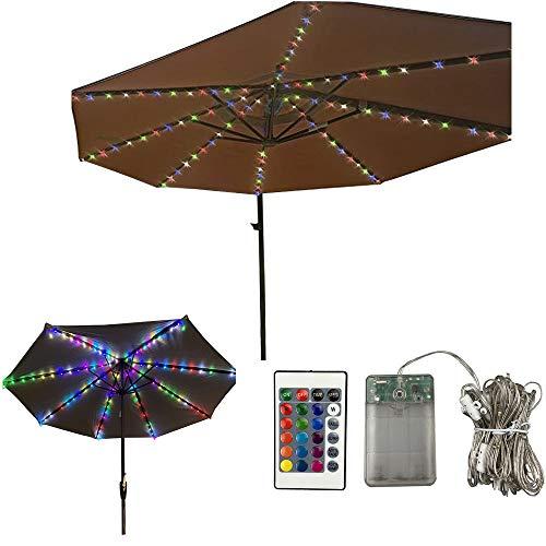 Cadena de luces para sombrilla, luces de sombrilla con mando a distancia y temporizador, 4 modos RGB, 16 colores, luces LED, decoración para paraguas, tiendas de campaña (multicolor)