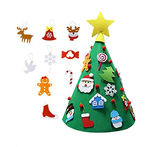 Mignon84Cook Albero di Natale in feltro 3D con 18 pezzi di ornamenti di Natale, decorazioni a forma di bambola Accessori regalo