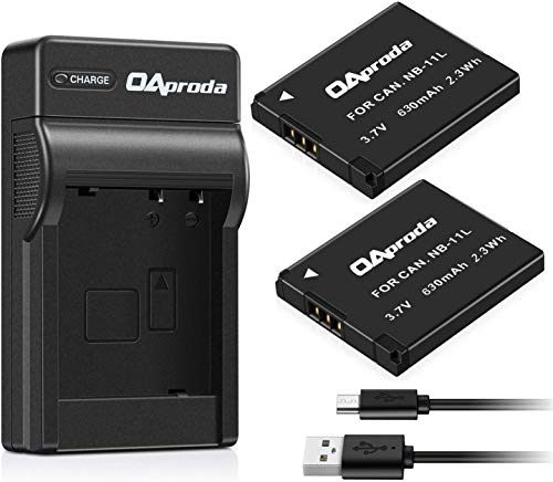 OAproda 2 Pack NB-11L Battery and USB Charger for Canon PowerShot ELph 180, Elph 360, ELph 190, Elph 110, Elph 130, Elph 135 is, Elph 150 is, SX420 is, SX410 is, SX400 is, A4000 is
