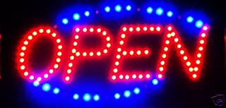 LED Neon Light Open Sign with Animation On/Off and Power On/Off Two Switchs for Business by E Onsale (Blue + Red)