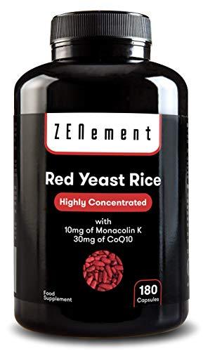 Levure de Riz Rouge concentrée avec 10mg de Monacoline K et 30mg de Coenzyme Q10, 180 Gélules | Vegan, non-GMO, sans citrinine, additifs ou gluten