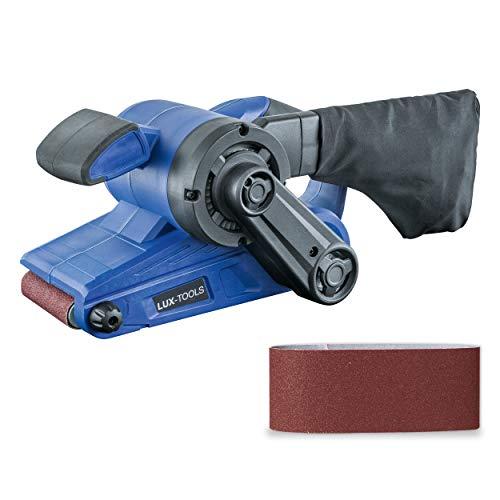 LUX-TOOLS BAS-920 Bandschleifer mit Drehzahlregelung & Staubsaugeranschluss, inkl. Staubbeutel & Schleifband | 230V 920W Schleifmaschine mit 533mm x 76mm Schleiffläche
