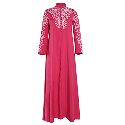 Lazzboy Muslim Maxi Kleid Trompete ärmel Abaya Lange Robe Kleider Tunika Gürtel Frauen Moslems Lose Einfarbig Kleidung Araber Kaftan Dubai(Pink,2XL)
