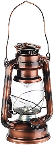 Lunartec LED Sturmlampe: LED-Sturmleuchte im Öllampen-Design, Flammen-Imitation, bronzefarben (LED Petroleumlampe)