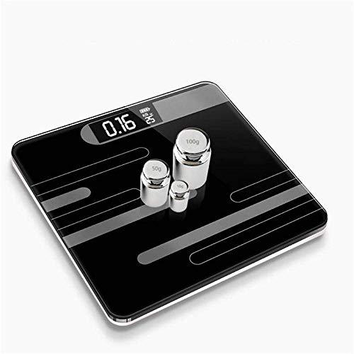 LQH Waage Badezimmer Körper Bodenwaagen, Glas intelligente Elektronische Waagen, LCD-Display, Körper Wiegen Digitales Körpergewicht Scal, 180Kg, Schwarz