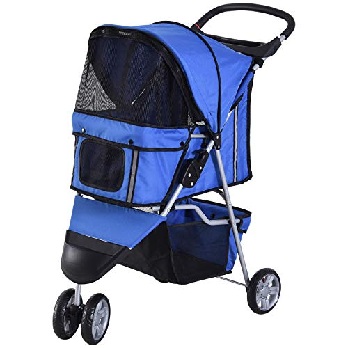 PawHut Pet Travel Stroller Cat Dog Pushchair Trolley Puppy Jogger Carrier Three Wheels (Blue)