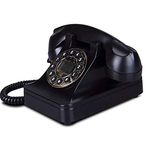 Oficina Teléfono Fijo Retro teléfono Fijo Hotel casa casa Oficina Vintage Europeo Antiguo teléfono Fijo Negro Rojo Blanco identificación de la Pantalla de la Pantalla (Color : Black)