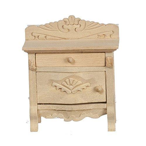 Melody Jane Puppenhaus Nachttisch Truhe Unvollendet Unbehandeltes Holz Miniatur-Schlafzimmer Möbel