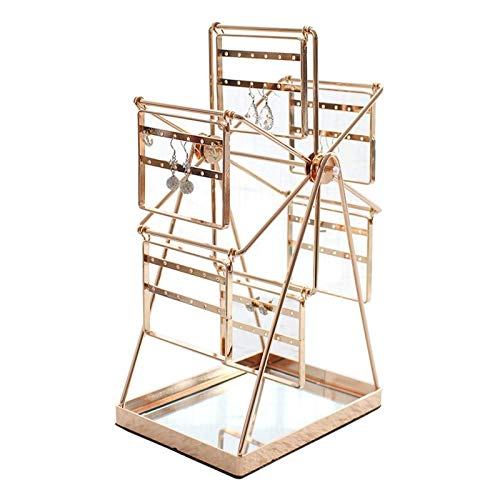 Colgador de joyas Pendiente giratorio Golden Table de giro Ferris Wheel Pendiente Organizador de la joyería Soporte de exhibición for mujer MUCHACHA MUCHACHA PISTA DE PANTENERTE DE ALMACENAMIENTO Sopo