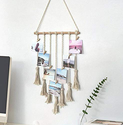 MoYouno Hanging Photo Display, Handmade Macrame Tassel Wall Hanging Pictures Organizer Boho Home Decor, DIY with 25 Wood Clips (Beige)