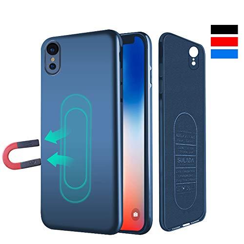 iPhone XR Hülle, [für Magnetische Halterung] Ultra Dünn Soft TPU Handyhülle mit Eingebauter Metal Plate für Magnet KFZ Autohalterung,Phone Case für iPhone XR 6.1 Zoll-Blau