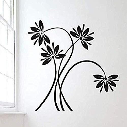 Flores y vides negras pegatinas de pared de vinilo tallado sala de estar dormitorio decoración de la pared pegatinas de pared pegatinas de pared pegatinas decorativas 32X57cm