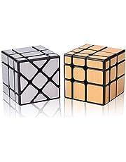 ROXENDA Magische Kubus Mirror Cube Set- Gouden Spiegel S, 3x3 Zilveren Spiegelkubus, Educatief Speelgoed Glad Puzzel Kubus