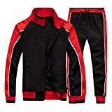 Men's Tracksuit Set Sweatshirt Jogger Sweatpants Solid Patchwork Warm Sports Suit Black Medium