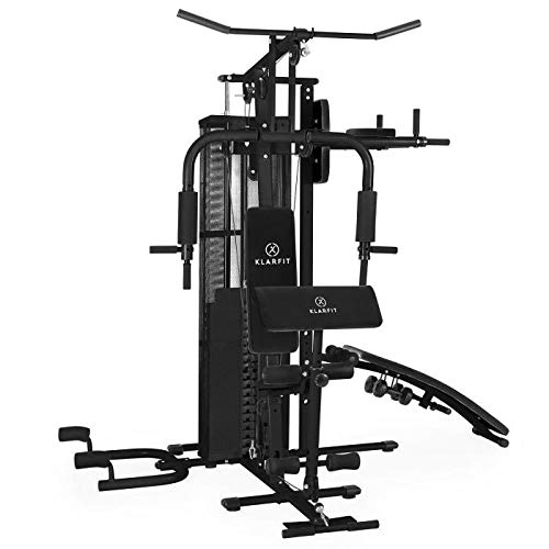 Klarfit Ultimate Gym 5000 - Heimtrainer, Trainingsstation, Kraftstation, multifunktionale Fitnessstation, für über 50 Übungen, Ganzkörpertraining, inkl. Gewichte, schwarz