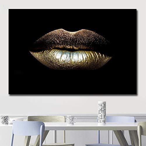 Geiqianjiumai HD Moderne Maison Unique Femmes africaines doré lèvre Art Toile décoration Murale Peinture en aérosol sans Cadre 80cm * 120cm