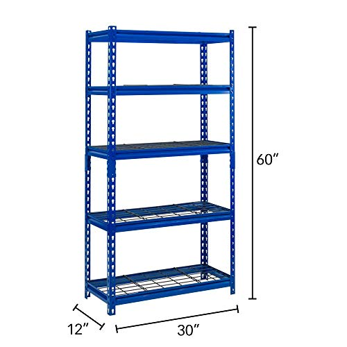 "Muscle Rack UR301260WD5-BL 5-Shelf Blue Boltless 30""W x 12""D x 60""H Steel Shelving Unit"