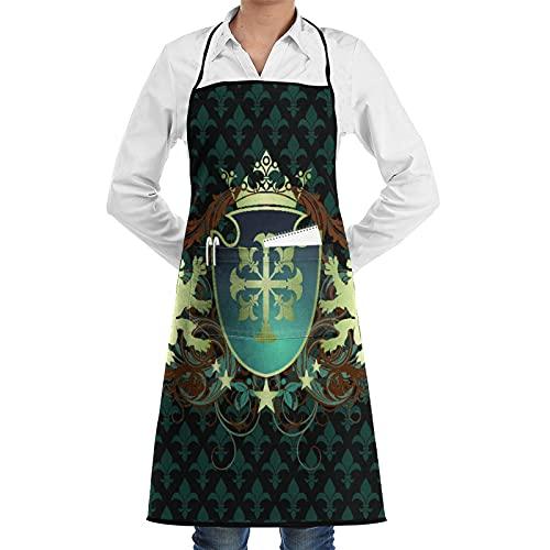 LOSNINA Delantal de cocina impermeable para hombres delantal de chef para mujeres restaurante de jardinería barbacoa cocinar hornear,Heráldico de la Edad Media Escudo Corona Leones y espirales