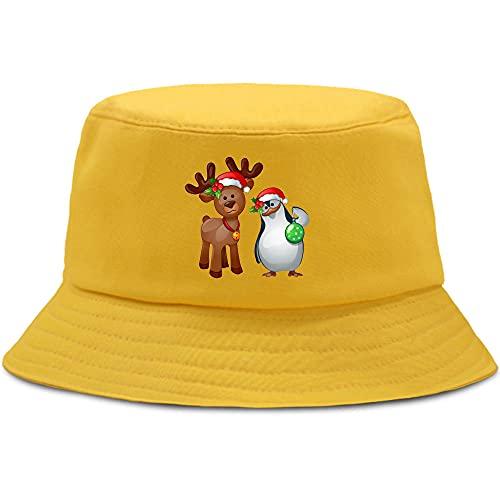 BOIPEEI Gorra de algodón para Hombre, Tema navideño, Divertido halcón y pingüino, Sombrero de Hip Hop, Moda, Playa, Sol, Sombreros de Cubo para Hombres