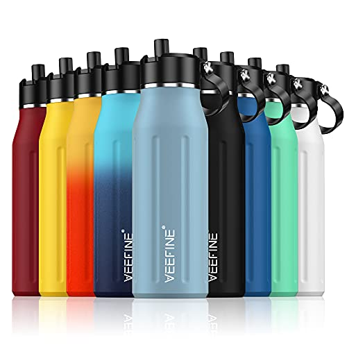 VeeFine Insulated Water Bottle with Straw Lid 32oz 100% Leak-Proof...