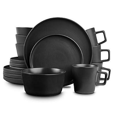 Stone Lain Coupe Dinnerware Set, Service For 4, Matte Black