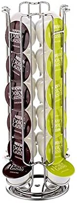 TIENDA EURASIA® Dispensador de Cápsulas Rotativo Nespresso/Dolce Gusto - Capacidad para 24 Cápsulas - Fabricado en Acero Cromado (Dolce Gusto 24 Cápsulas - D. 14 x H. 32 cm)