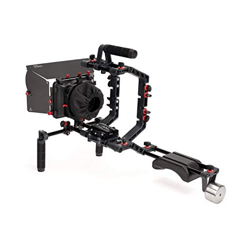 Filmcity de DSLR Cámara de vídeo estabilizador de hombro Rig Kit con jaula y soporte de apoyo para el hombro caja mate (fc-02-p) con accesorios gratis