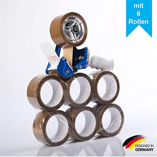 LILENO HOME Paketbandabroller als Handabroller + 6 Rollen Klebeband braun - Hochwertiger Klebebandabroller mit Abrollbremse - Profi Packband Abroller für unterschiedliches Paketklebeband