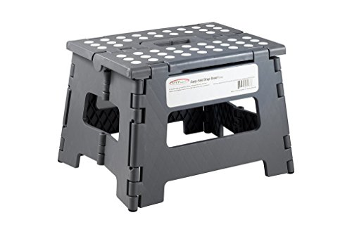 StepSafe Non Slip Folding Step Stool For Kids and Adults with Handle 9quot in Height Holds up to 300 Lb grey