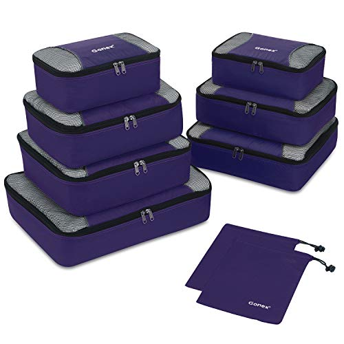 Gonex Organisateurs de Bagage Sacs Rangement de Valise Voyage (A-Violet, 9 unités)