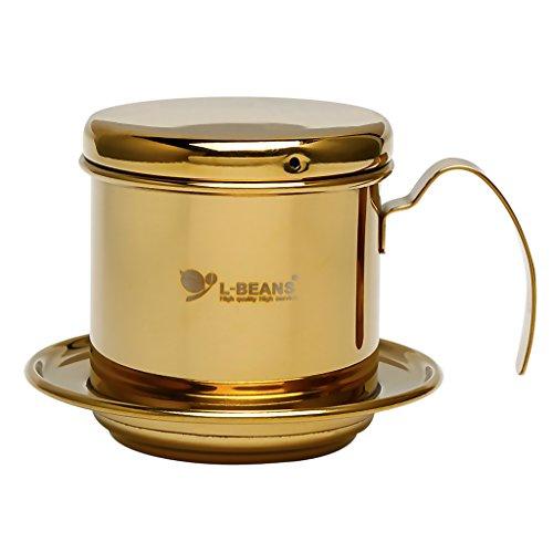 FLAMEER Edelstahl Kaffeefilter, Edelstahl Vietnamesisch Kaffee Filter Maker Kaffee Drip für Home Küche Büro Außeneinsatz - Gold, 7 cm