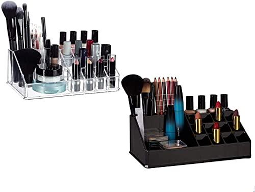 Recet Joyero para mujer, organizador de cosméticos de acrílico, kit de maquillaje para pintalabios, esmalte de uñas, utensilios de cosmética, transparente estándar (E)