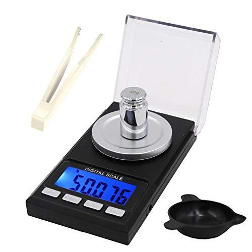 GPISEN Báscula Precision 0.001g×100g,Peso de Cocina Digital con Pantalla LCD y 8 Unidades,con Pesas de Calibración,Pinzas y Bandejas de Pesaje,Función de Tara.