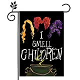 CROWNED BEAUTY Halloween Garden Flag I Smell Children Sanderson Sisters Double Sided Vertical 12×18 Inch Rustic Black Farmhouse Decor for Seasonal Holiday Yard CF287-12