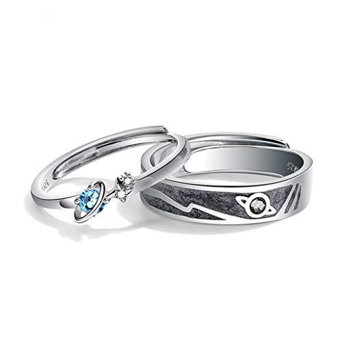 MYhose Anillos de Moda 2 Piezas Saturno Planeta y Estrellas Universo Amante Anillos Conjunto de Bandas Mar Azul