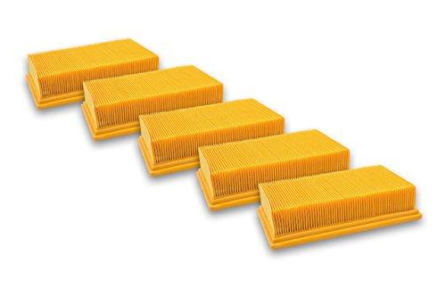 vhbw 5x Flachfaltenfilter kompatibel mit Kärcher NT 25/1 Ap, NT 35/1 Ap, NT 35/1 Tact/Te/M, NT 361 Eco/Te/M, NT 45/1 Tact/Te/M Ersatz für 6.904-367.0