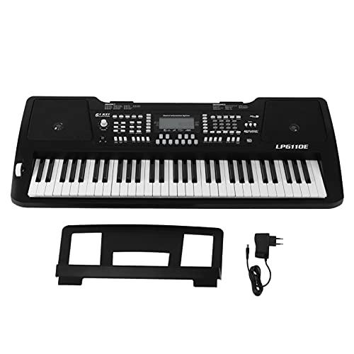 Piano Electrónico Portátil Eléctrico 61 Teclas Pantalla LCD Piano Eléctrico Teclado Multifuncional LP6110E Enchufe De La UE AC 100-240V Con 130 Sonidos