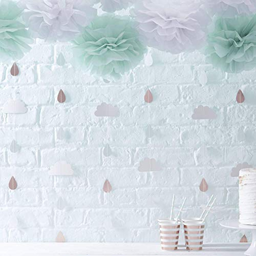 Ginger Ray Rose Gold & Clouds Backdrop Unisex Hanging Decoration Garland for Baby Showers, Multicoloured