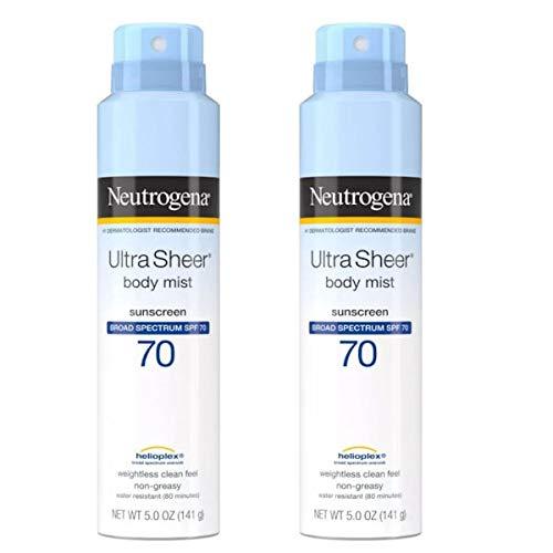 Neutrogena Ultra Sheer Spf#70 Body Mist Full Reach Spray 5 Ounce (148ml) (2 Pack)